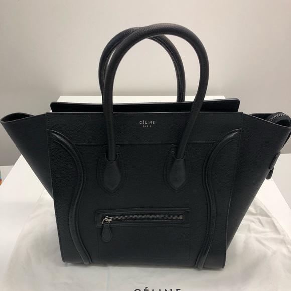 899fe9c5d5e4 Celine Handbags - Celine Mini Luggage Handbag Pebbled Leather Black